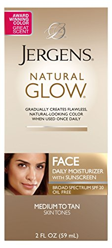 Jergens Natural Glow SPF 20 Face Moisturizer, Self Tanner, Medium to Deep Skin Tone, Sunless Tanning, Daily Facial Sunscreen, 2 oz, Oil Free, Broad Spectrum Protection UVA and UVB (Packaging May Vary)