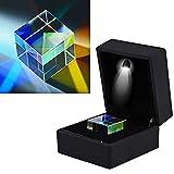 Prisma de cubo, prisma de vitral óptico de 23 * 23 * 23 mm, prisma de experimento científico K9 con caja de regalo negra, para experimentos científicos, fotografía, prisma de enseñanza óptica de físi