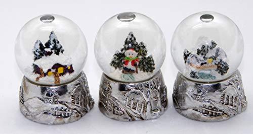 3er Set süße Mini-Schneekugeln Winter und Weihnacht mit Silber Sockel, Durchmesser 45mm mit Luftblase