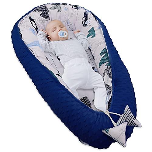 Cálida cuna para recién nacidos, de algodón y Minky, con certificado Oeko-Tex, color azul con coches