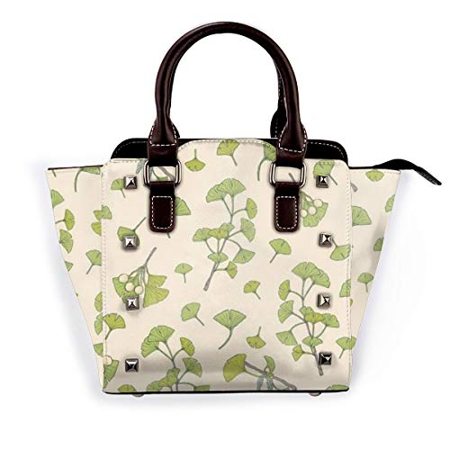BROWCIN Fitoterapia Floral Botánico Verde Ginkgo Biloba Naturaleza Hojas Elegante Desmontable Moda Tendencia Bolso de las señoras Bolso de hombro