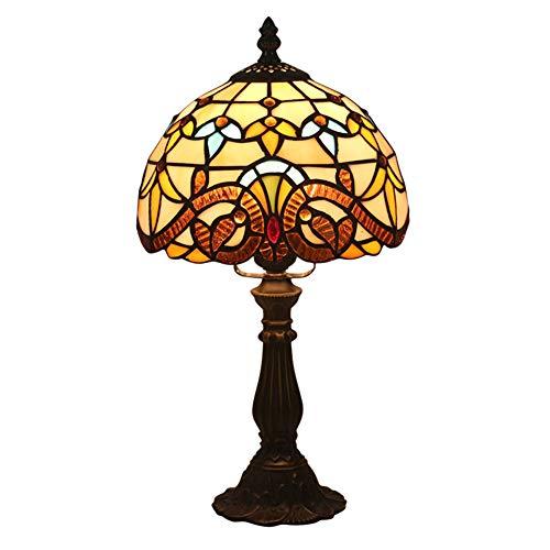 HWJF Tiffany lámpara de Mesa mesita de Noche Dormitorio lámpara de Mesa barroca Retro Creativo salón Restaurante Hotel lámpara de Mesa vidrieras Decorativas iluminación Interior E27 MAX.40 W,A