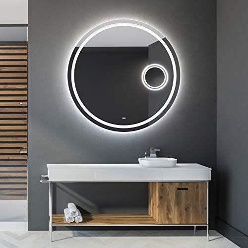 Artforma 70 cm Espejo redondo de Baño con Iluminación LED - Luz Espejo de Pared con Accesorios - Diferentes tamaños para Baño Dormitorio...