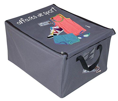 Incidence 42067 Boîte de rangement Affaires de sport Grise Tissu imperméable et armature métal Pliable Poignées Fermeture zip et scratch