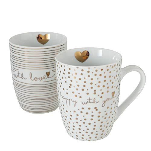 Boltze Kaffeebecher 2er Set Lovana, Kaffeetassen Set, Kaffeebecher Porzellan, Coffee Mug, kaffeetasse groß, weiße tassen, weiß/Gold, 330 ml