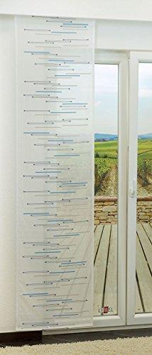 LYSEL Schiebegardine Spectre transparent mit Linien in den Maßen 245 cm x 60 cm blau/blaugrau