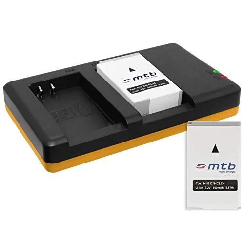 2 Baterías + Cargador Doble (USB) para EN-EL24 ENEL24 / Nikon 1 J5 / Nikon DL18-50, DL24-85, DL24-500 - Contiene Cable Micro USB