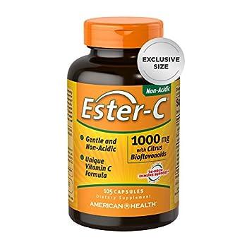 Ester-C American Health 1000 mg with Bioflavonoids Capsules 24Hour Immune Support Gentle on Stomach NonAcidic Vitamin C NonGMO Gluten Free Servings Citrus 105 Count  30070
