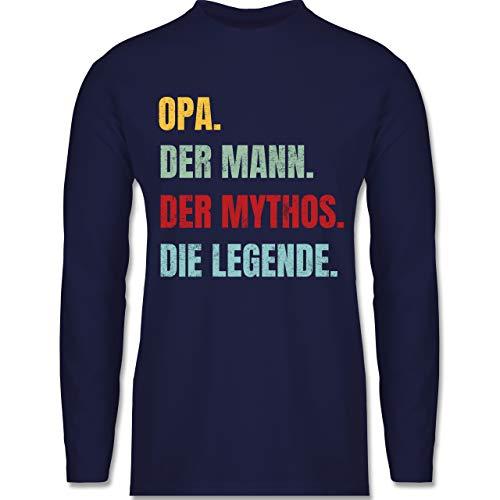 Shirtracer Opa - Opa Vintage der Mann der Mythos die Legende - M - Navy Blau - Rundhals - BCTU005 - Herren Langarmshirt