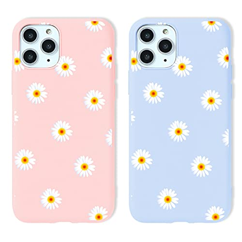 Yoedge 2 Piezas para Apple iPhone 12 Pro MAX Funda,Vistoso Silicona Carcasa Mate Suave TPU Protección,Ultra Slim Anti Choque Anti Arañazos Case Funda para iPhone 12 Pro MAX 6,7',Flor de Margarita