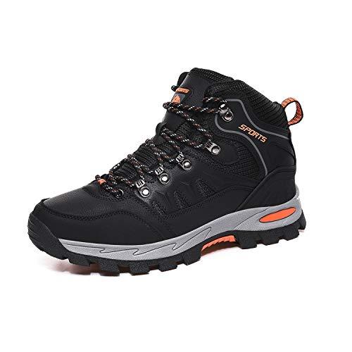 FOGOIN Wanderschuhe Herren Damen High Trekkingschuhe Wanderstiefel Outdoorschuhe Schwarz EU41