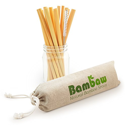 Reusable Bamboo Drinking Straws | BPA Free | Ecological Alternative to Plastic Straws | Strong & Durable Bamboo Multi-Usage Straw | 12 Straws | 8.7 Inch | Bambaw