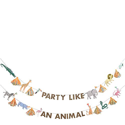 Meri Meri Safari Animals Large Garland with a Fun Party Message, 12 Wild Animal pennants and 8 Striking Tassels