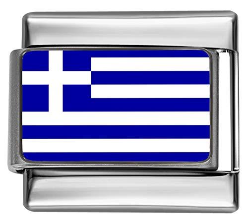 Stylysh Charms PC068 - Ciondolo con bandiera greca e foto italiana, 9 mm, adatto a Nomination Classic