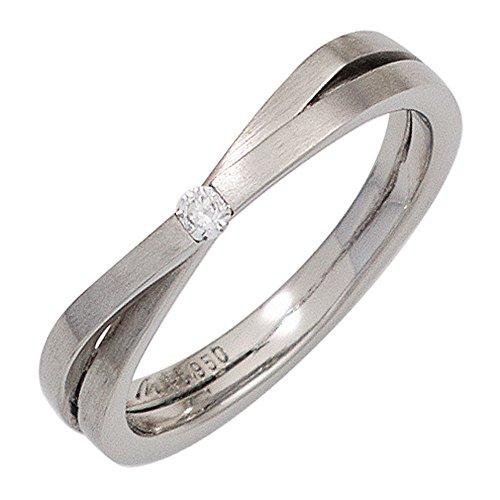 JOBO Damen Ring 950 Platin mattiert 1 Diamant Brillant 0,05ct. Platinring Größe 54