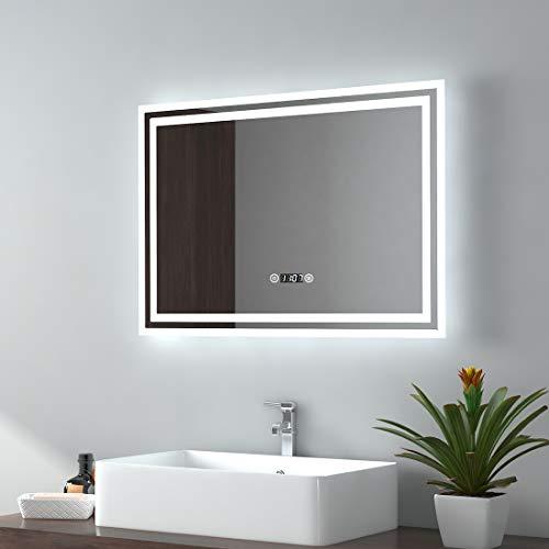 EMKE LED Badspiegel 50x70cm Badezimmerspiegel mit Beleuchtung 3 Lichtfarbe 3000-6400K kaltweiß Neutral Warmweiß Lichtspiegel Badezimmerspiegel mit Touchschalter+Beschlagfrei+Uhr