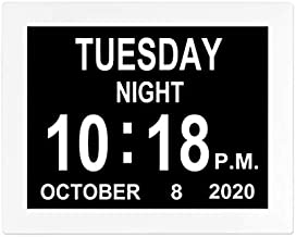 8 INCH Calendar Day Date Time Clock 12 Alarms Reminder Auto-Dimming Extra Large Non-Abbreviated Day Month Dementia Clocks for Senior Elderly Memory Loss Vision Impaired