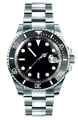 Collectors Club TW1007 Reloj automático de acero inoxidable 316L, indicador de fecha, bisel de cerámica, cristal de zafiro, resistente al agua 5 bar