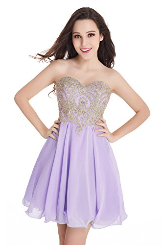 Babyonlinedress Womens Lace Tulle Applique Open Back Short Beaded Prom Dresses (Lavender,2)