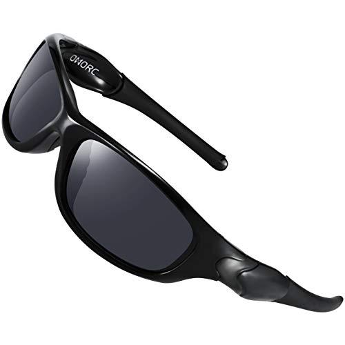OMORC Occhiali Polarizzati Uomo da Sole Sportivi 100% UV400 Protezione, con TR90 Telaio Durevole, per Running Montagna Bici Moto Guida Golf Pesca, Nero
