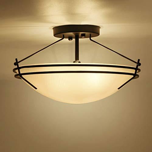Retro Vintage industriële plafondlamp, rond, van ijzer, lampenkap van glas, wit, E27 × 3 lampen, plafondlamp, woonkamerlamp, eetkamer, slaapkamer, rustieke stijl, Ø42 cm