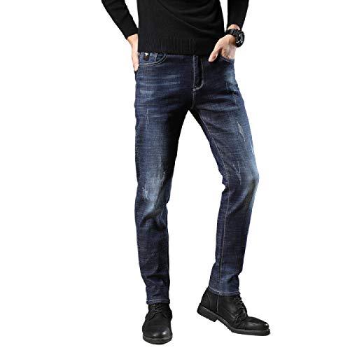 Pantalones Vaqueros para Hombre Primavera y Verano Moda Retro Vaqueros elásticos Delgados Pantalones de Mezclilla de Todo fósforo Informales de Moda 32