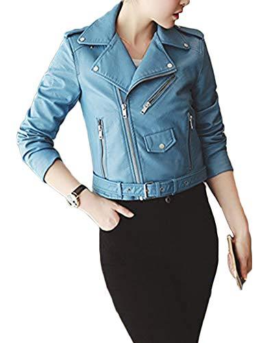 Quge Mujer Imitación Cuero Chaquetas Cazadora con Cremallera Slim PU Abrigo Corto De Moto Outwear