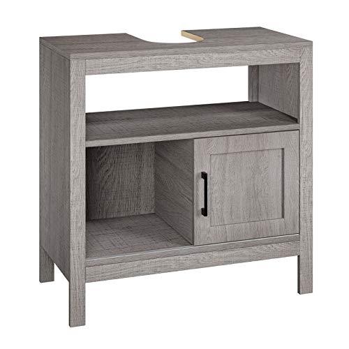 Homfa Unterschrank Waschbeckenunterschrank Badezimmerschrank Waschtischunterschrank mit Metallgriff und Gleitschienen Schiebetür Badmöbel Grau 60x60x30cm