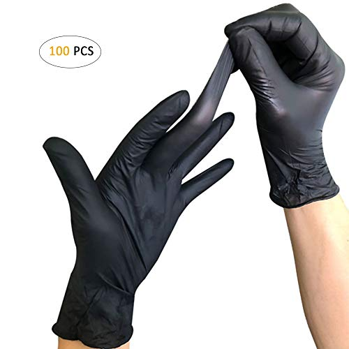Disposable PVC Gloves, YOUYA DENTAL 100 Pcs Disposable Gloves Powder Free Rubber Latex Free Disposable PVC Gloves Non Sterile Ambidextrous Comfortable Industrial Black Rubber Gloves L