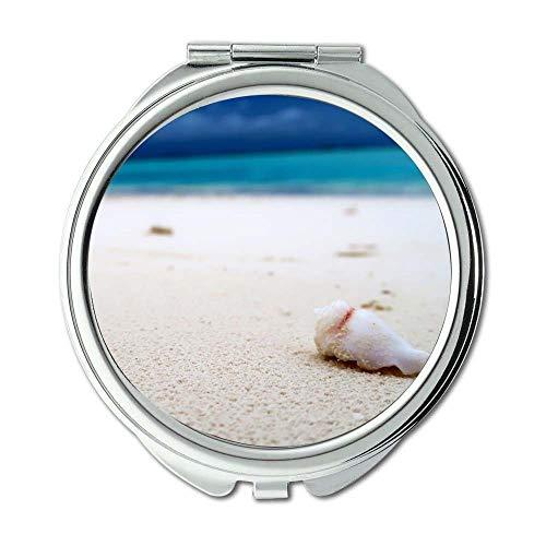 Yanteng Spiegel, Compact Mirror, Strand blau Blur, Taschenspiegel, tragbarer Spiegel