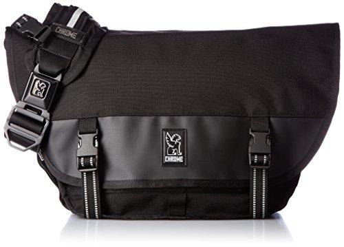 Chrome Industries Mini Metro Messenger Bag - 13 Inch Laptop Satchel with Signature Belt Buckle Closure, All Black, 20.5 Liter