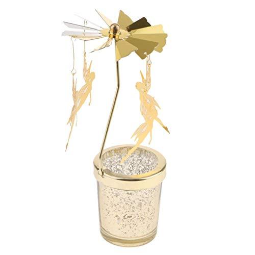 Fenteer Carrusel Candelitas Giratorias Tealight Vela Romántica Noche De Oro Regalos Creativos...