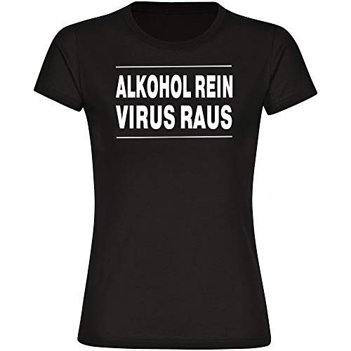 Coole-Fun-T-Shirts - Maglietta da donna 'Alcol puro', taglia S - 3XL, coronaviren covid 19 covid-19 Viren Virus Quarantäne, colore: Nero Nero M