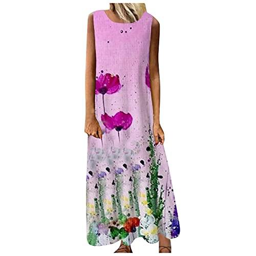 Damen O-Ausschnitt Kleid Langarm Elegante Vintage Lässig Maxi Kleid Druck Cocktail Abendkleid Damenkleid mit Blumenmuster und...
