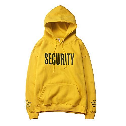 Gen.Gu Adolescentes Pullover Hooded Sudadera Plus-Size Drop Shoulder Hoodie Amarillo M