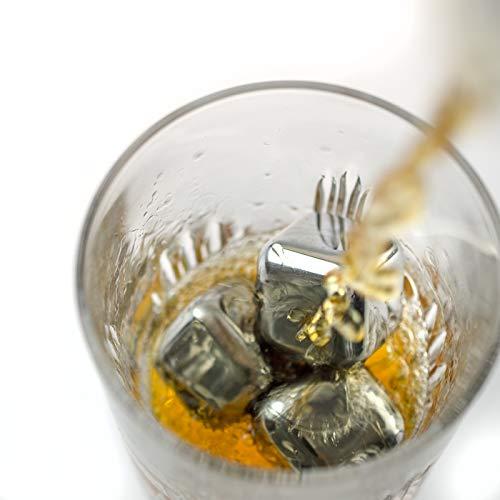 KOBERT GOODS - 4 Whisky-Steine in Farbe Edelstahl Eckig - wiederverwendbare Kühlsteine aus echtem Speckstein od. gebürstetem Edelstahl - Eiswürfelersatz (eckig/ oval) für perfekte Kühlung ohne Verwässerung - mit Stoffbeutel - 6