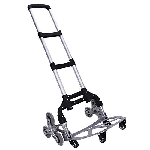 Stair Climbing Cart WOQED Stair Climbing Hand Trucks Folding Hand Truck Aluminum Alloy 10-Wheel Trolley Folding All Terrain Lightweight Hand Truck Quiet Large Tires with Bag, Luggage Moving Outdoor