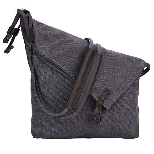 Canvas Umhängetasche Hobo Umhängetasche Handtaschen Lässig Messenger Bags Multifunktions Schule Einkaufstaschen für Damen Frauen mit Geschenk Geldbörse Brieftasche Münztüte Tasche (Gray)