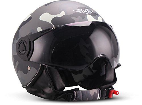 "Moto Helmets® H44 ""Camouflage"" · Jet-Helm · Motorrad-Helm Roller-Helm Scooter-Helm Bobber Mofa-Helm Chopper Retro Cruiser Vintage Pilot Biker Helmet · ECE Visier Schnellverschluss Tasche M (57-58cm)"