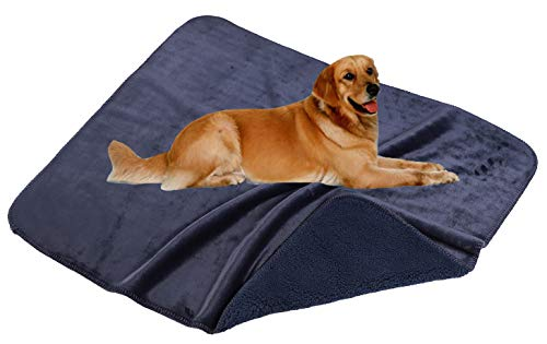 SOCIALCOMFY Waterproof Dog Blanket Pee Proof Pet Blanket for Bed, Couch, Sofa Washable Plush Sherpa Furniture Protector Cover Liquid Resistance Blanket for Dogs, Cats and Puppies(Charcoal, 60x80