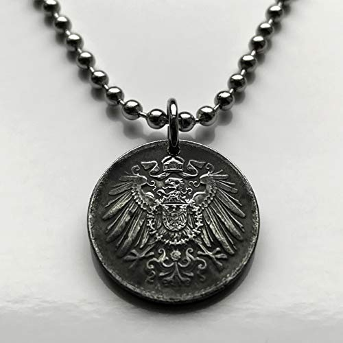 1918 Germany 5 Pfennig coin pendant German black eagle Berlin Munich Leipzig Dortmund Essen Bremen Dresden Hanover Nuremberg Bonn Brandenburg World War 1 Iron coin n000283