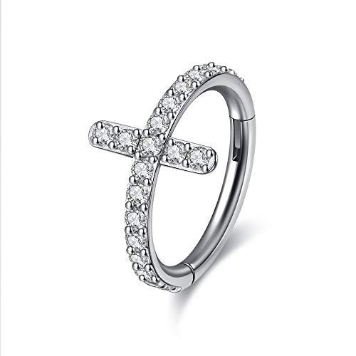 Zysta Piercing anillo para nariz, septum, cruz de acero inoxidable y circonita, piercing para tragus y lóbulo
