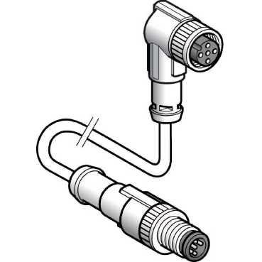 Schneider XZCR1511062F1 XZ-verbindingskabel, stekker, ger, M12, 3-polig, Bu, ger, M12, 3-polig, PUR kabel, 1 m
