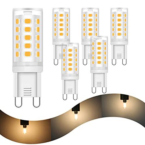 HOMEOW G9 LED Regulable 3 Niveles 5W 2700K Blanco Cálido Bombillas Equivalente a Halógeno 40W 420 Lumen 1W 3W Para Lámparas de Techo Cocina Baño 220V 230V Paquete de 6