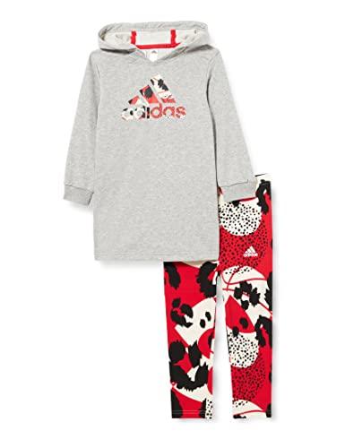 adidas I Dress Set Tutina per Bambino e Neonato, Top:Medium Grey Heather/Vivid Bottom:Wonder White F21/VIVID Red S21/BLACK, 1824 Bimba 0-24