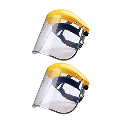 Yarnow Safety Face Shields Anti Fog Splash Full Face Cover 2PCS Clear Plastic Visor Eye Face Protection for Outdoor Office Kitchen Working Garden Yellow
