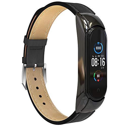 GeeRic Kompatibel Mit Xiaomi Mi Band 5 Armband,Leder Replacement Wrist Strap Band Uhrenarmband Handgelenk Band Kompatibel für Xiaomi Mi Band 5