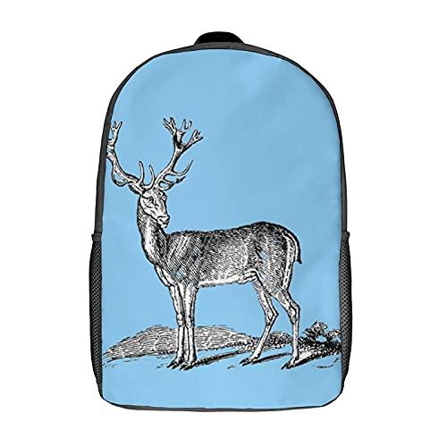 Lustige wasserdichte leichte Kindertasche für Schule, Studenten, Rucksack, originelles Design, Malerei, Kreativität, Hirsch, Skizze Lernen, Schwarz-Style-4, 43 cm