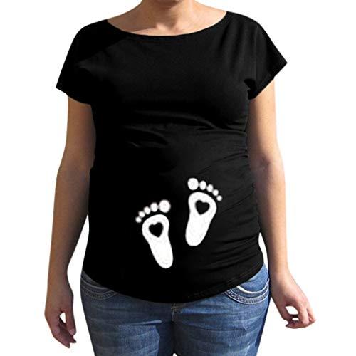 Innerternet Femme Tee Shirt Grossesse Humour à imprimé Petits petons T-Shirt à imprimé de Poche pour bébé de maternité T-Shirt de Grossesse Humour Femme(C Noir,M)