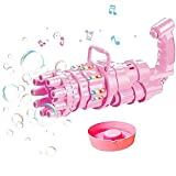 バブルマシーン 自動バブルマシン シャボン玉 音楽と照明効果付き, ガトリング銃形電動バブルマシン男の子と女の子用 屋外おもちゃバブルガンお風呂キャンプ 外遊び アウトドア子供誕生日 (泡水は含まれていません) (Color : Pink)